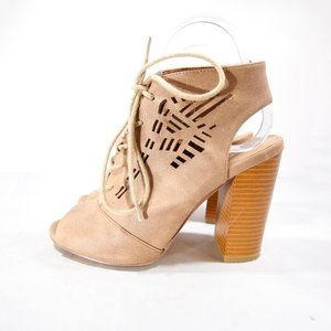 """Altar'd State Tan Peep Toe Lace-Up 4"""" Sandals"""